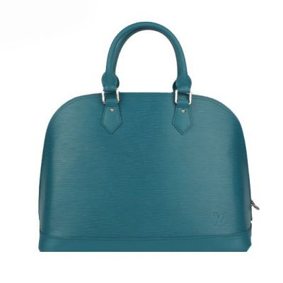 Unique Peacock Blue Louis Vuitton Alma EPI Leather Tote Bags Flat Bottom With Protective Studs Online Sale